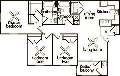 C- Three Bedroom / Two Bath - 1,281 Sq. Ft.*